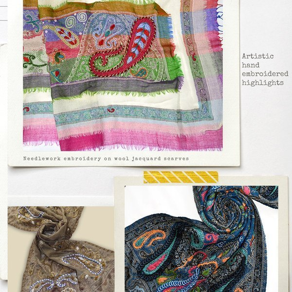 hand embroidery wool shawls and scarves