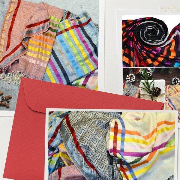 warm wool scarves with metallic silk stripes