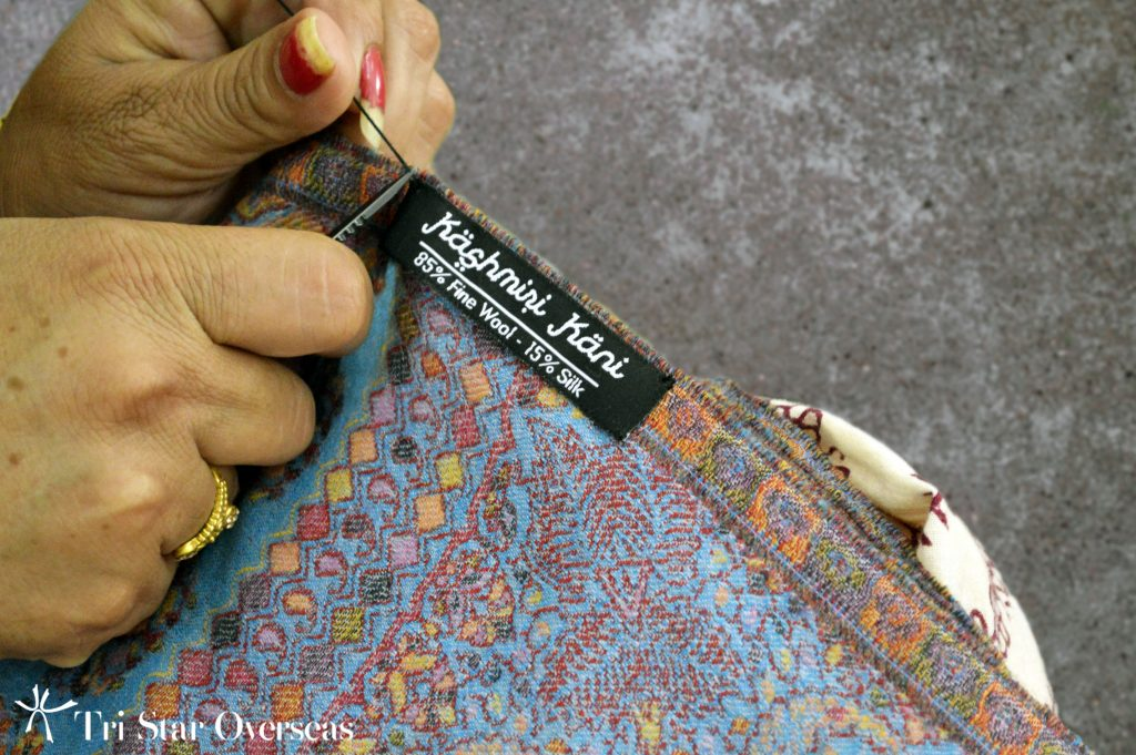 add your logo to custom design printed scarf using hand-sewn labels