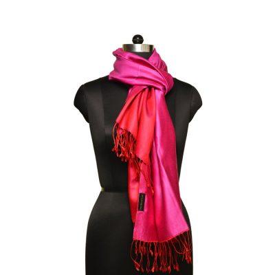red pink satin silk scarf