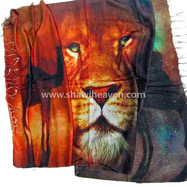 Lion digital print scarf in modal, tristar overseas