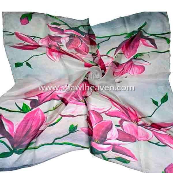 hand painted oriental lotus square silk scarf, buy bulk scarves wholesale
