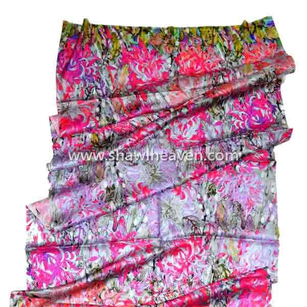 Chrysanthemum abstract floral digital print scarf in pure silk
