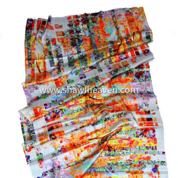 Abstract modern art digital print scarf in pure silk