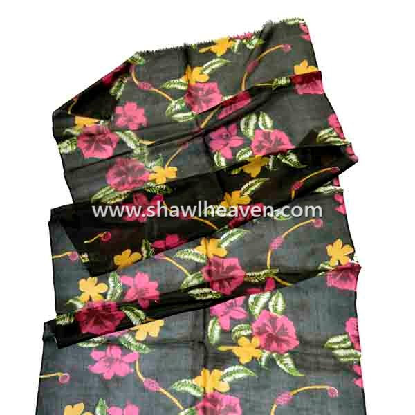 Hawaiian floral black silk stole scarf, buy printed scarves directly from manufacturer - Tri Star Overseas, Amritsar