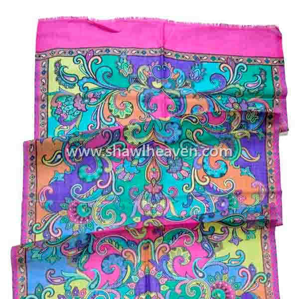 Multicolor bright print paisley scarf made in india