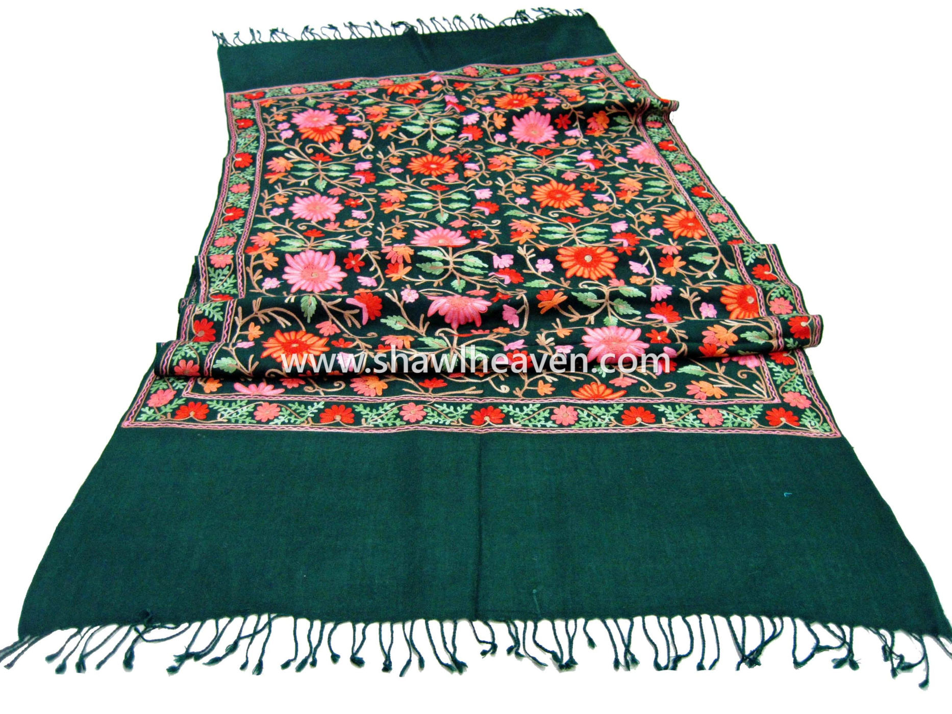 Traditional Kashmiri Wool Shawls And Stoles With Aari Embroidery