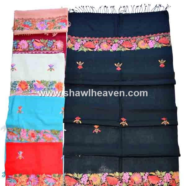 Indian floral embroidery design border shawls