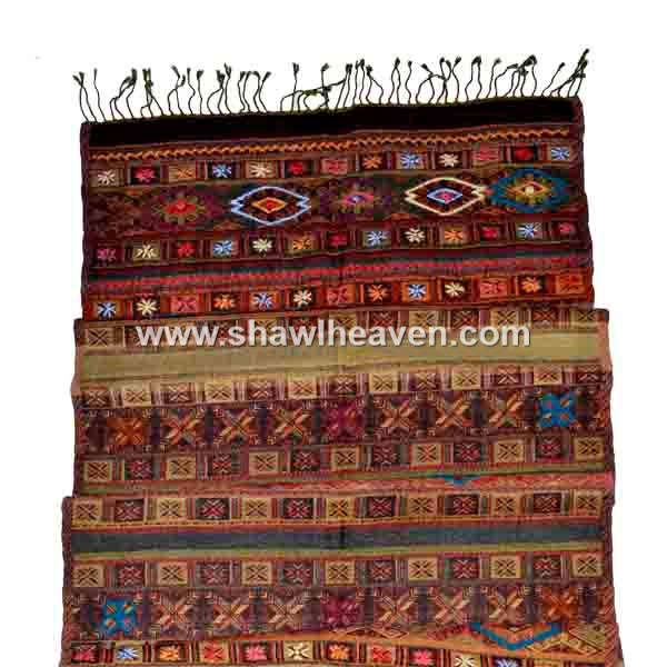 Hand embroidered Aztec boiled wool jacquard scarves