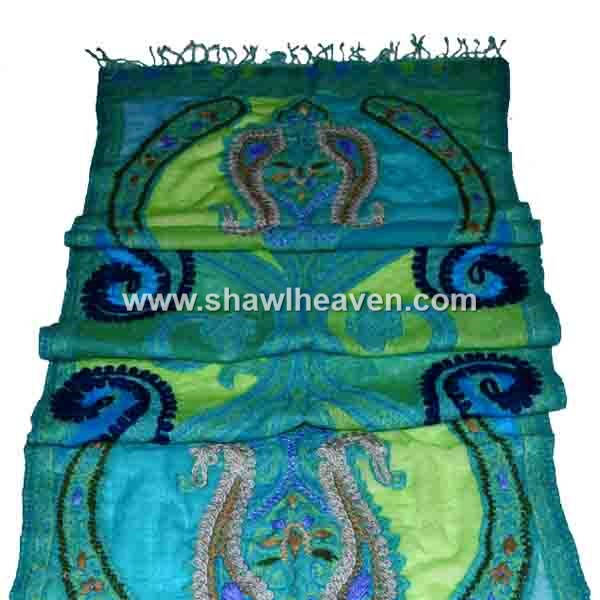 High quality turquoise paisley cutwork scarf/foulard/schal with dark embroidery stitches