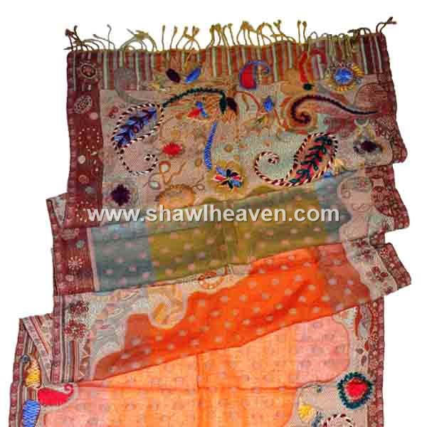 Multicolor cutwork paisley boiled wool scarf with highlighting hand embroidery