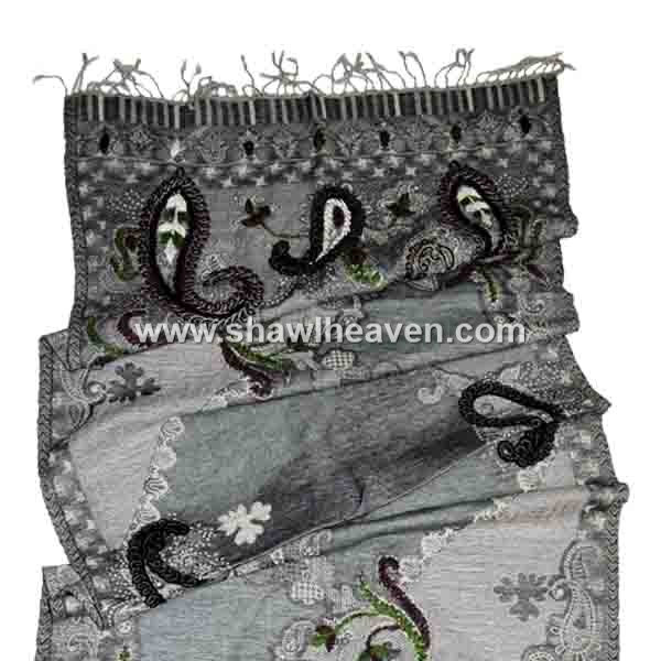 Neutral gray jacquard boiled wool scarf with unique hand embroidery pattern