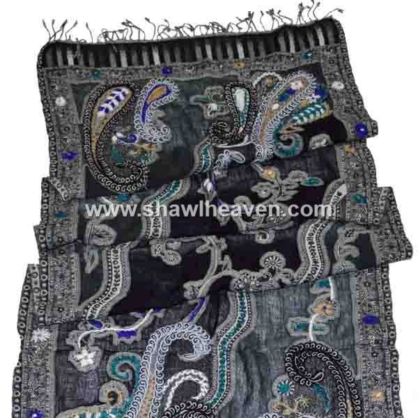 Highlighting Paisley Embroidery boiled wool jacquard stoles and scarfs