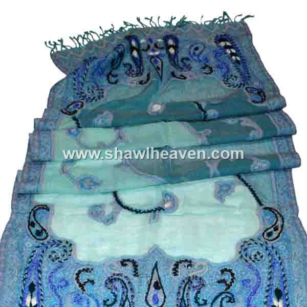 Muted blue cutwork hijab scarf with unique embroidery designs