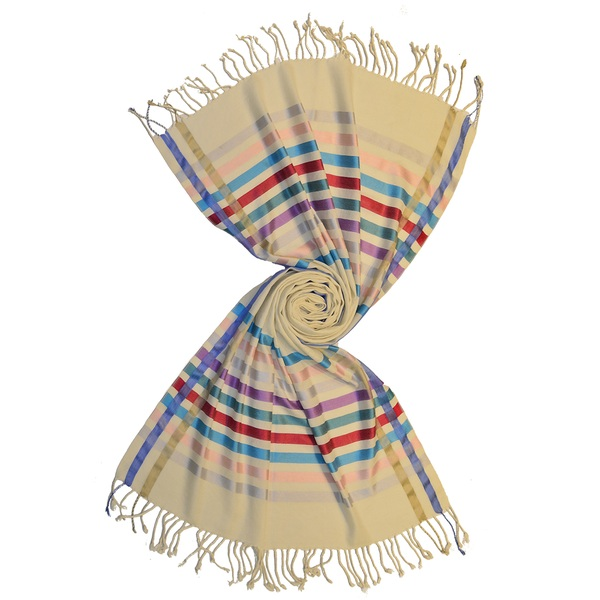 designer wool scarves with shiny silk stripes by scarf manufacturer in india