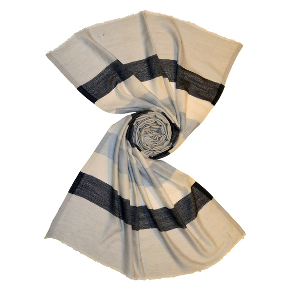 Beige wool stole with bold stripes