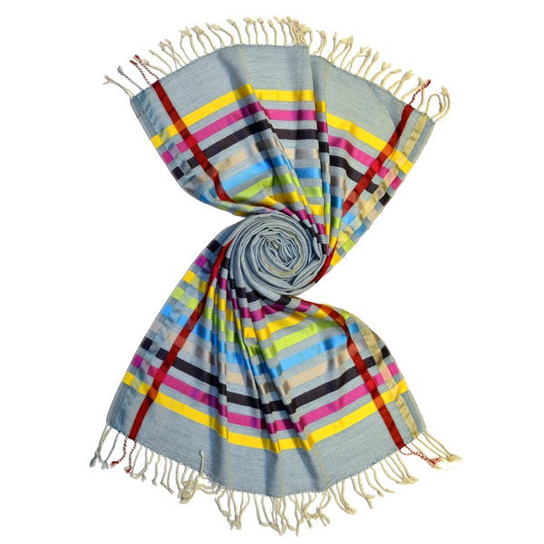 blue merino wool scarf with shiny silk stripes by scarf manufacturer in india