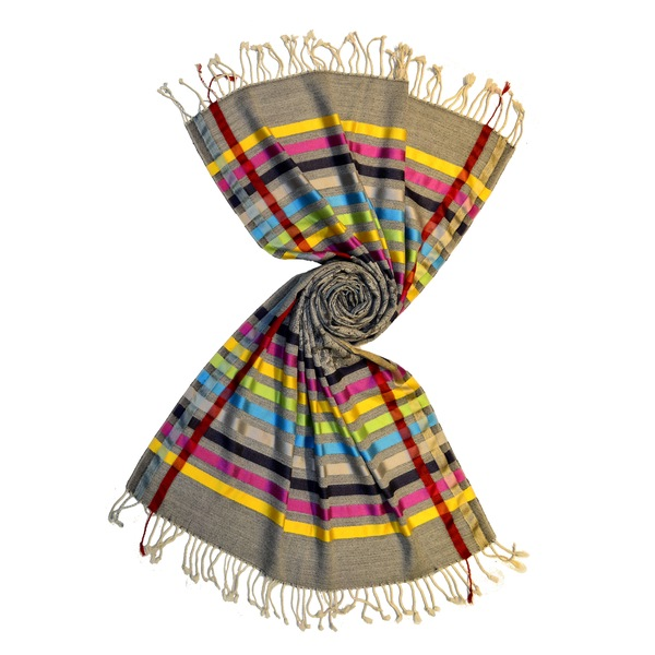 black paisley scarf with shiny silk stripes by scarf manufacturer in india