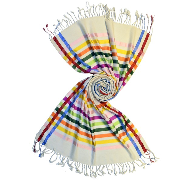 white merino wool scarf with shiny silk stripes by scarf manufacturer in india