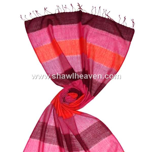 Hot pink wool scarf with colorful stripes