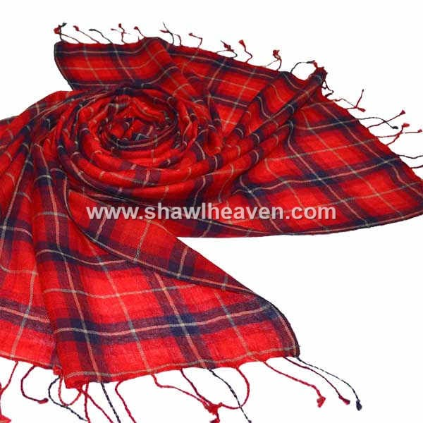 classic red navy tartan check pattern scarf in pure wool, with tassels