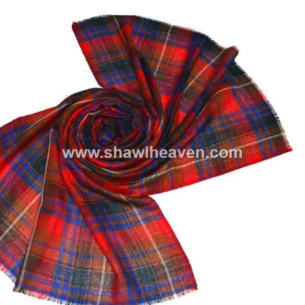 Luxurious oversized plaid frayed wool scarf wrap for men, women