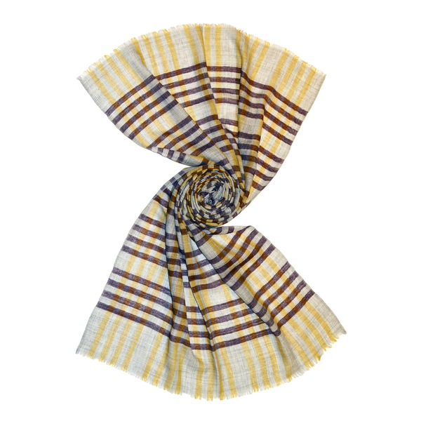 beige small check wool scarf