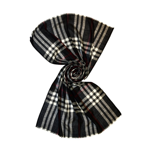 Big check wool scarf for men
