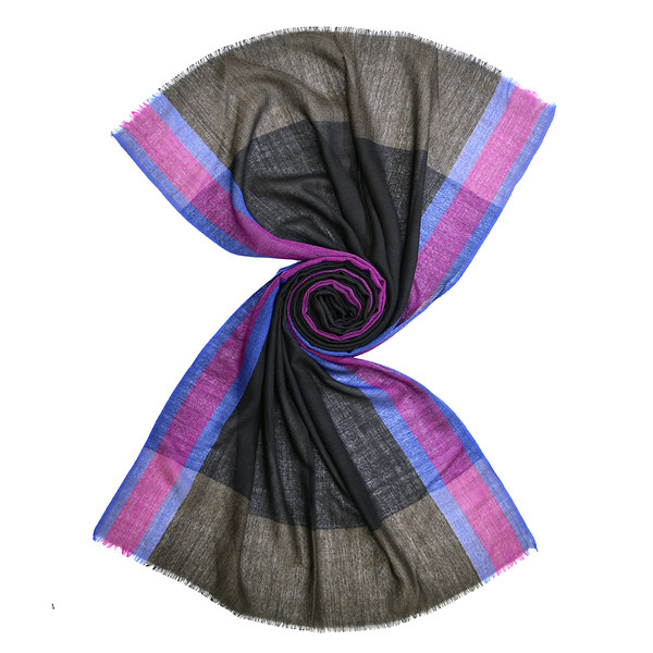 black wool scarf with vertical stripes