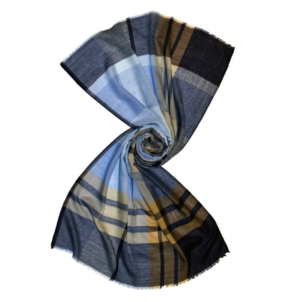 Blue tartan plaid check pattern scarf made from pure merino wool
