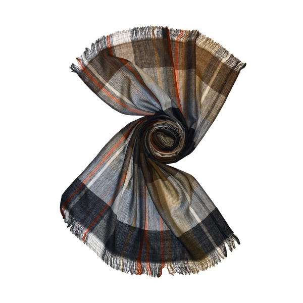 brown plaid wool scarf for men