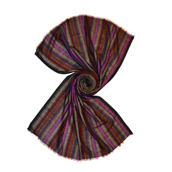 Burgundy herringbone wool scarf with multi color stripes made in india