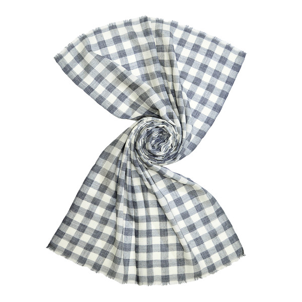 classic grey checkered wool scarf for men