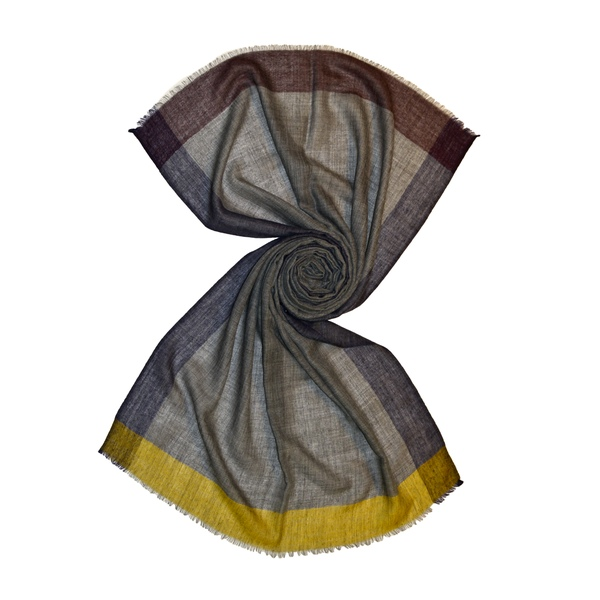 grey handloom scarf with contrasting stripes, buy from tri star overseas