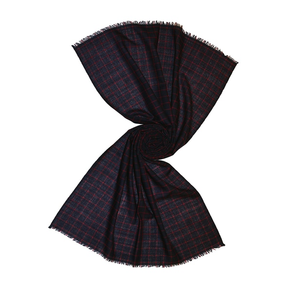 navy check wool scarf for men, buy from tri star overseas