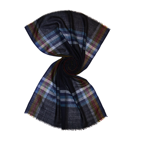 Navy wool scarf with solid color stripes