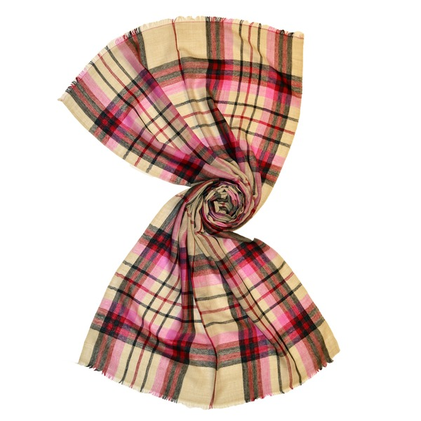 Pastel plaid tartan wool scarves made in india