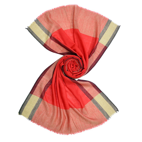 red wool scarf with vertical stripes for men