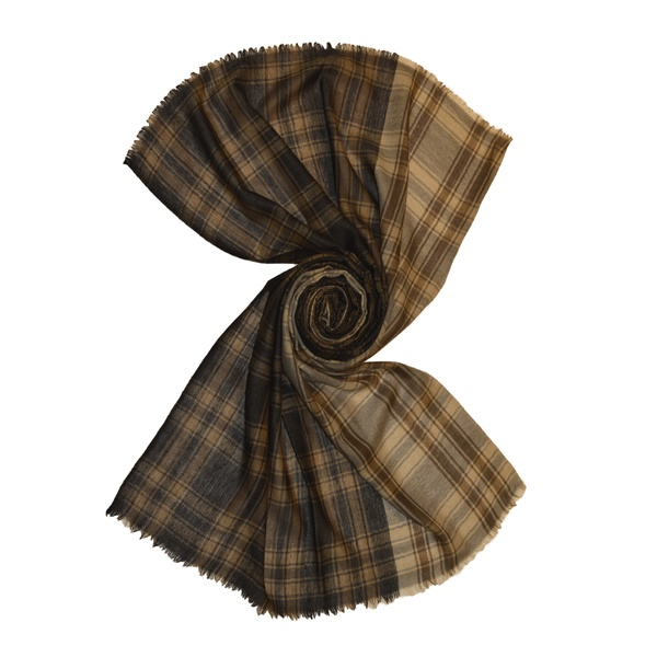 two color brown  tartan check wool scarf for men