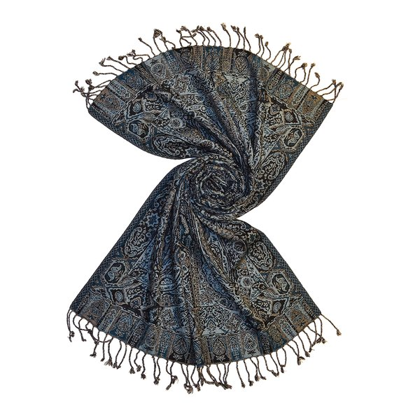 Black/blue wool jacquard scarf made in india