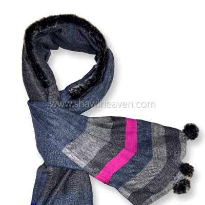 fashionable wool scarf with faux fur pom poms