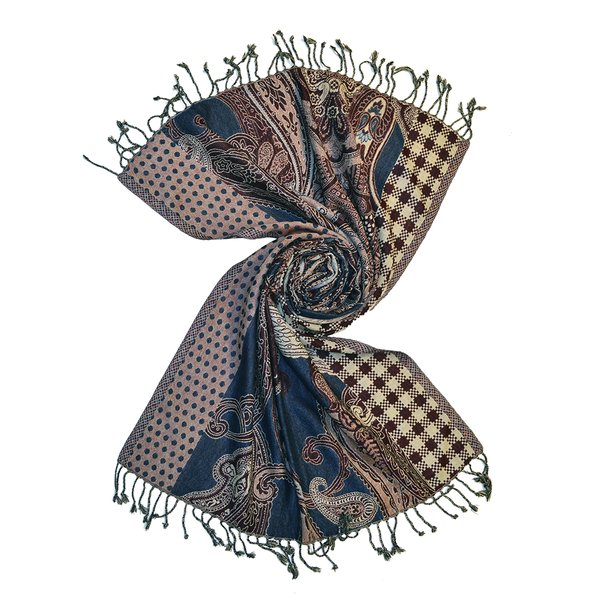 Fusion paisley wool jacquard scarf, made in india