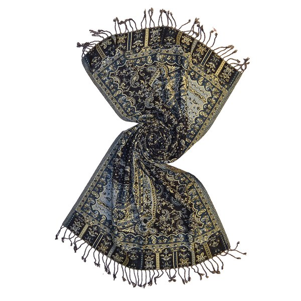 green wool jacquard scarf made in india