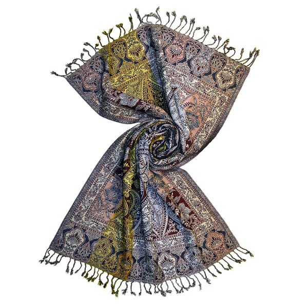 multi warp striped wool jacquard shawl scarf