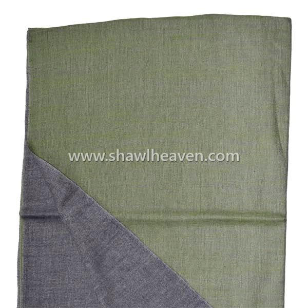 Olive green wool large scarf wrap with frayed hem