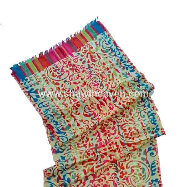 Frayed hem Cotton Scarfs with print on pre dyed yarn woven jacquard scarf