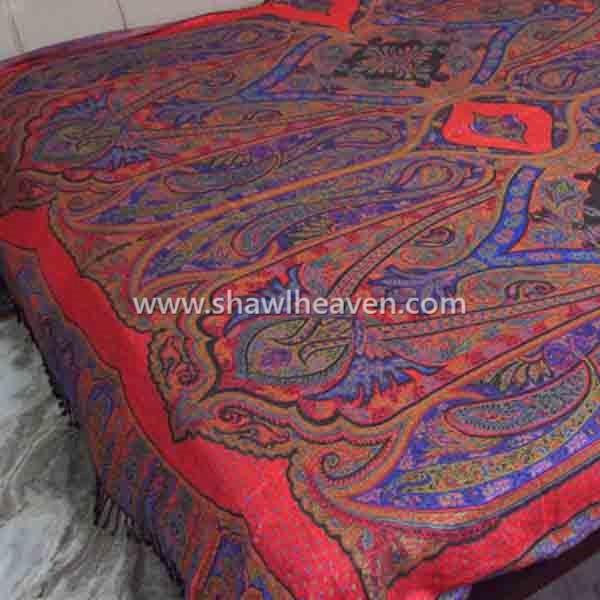 Bright Red Violet Antique Pasiley Bedspread