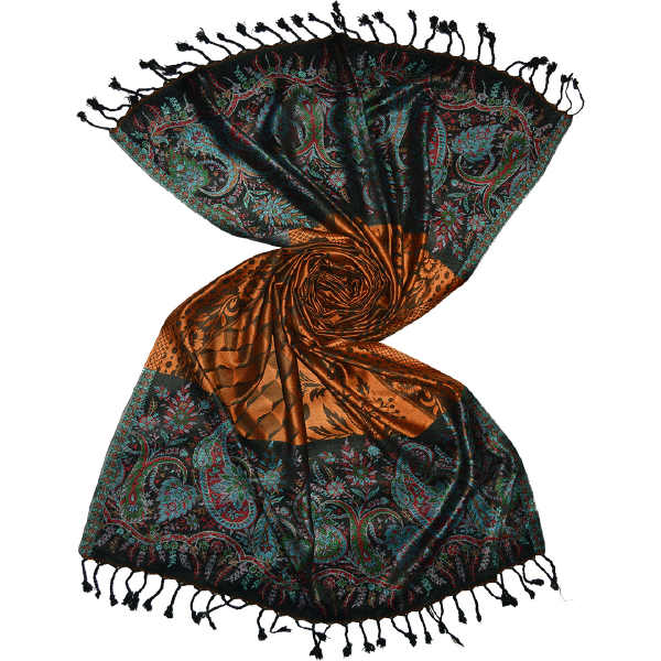 Black gold 3d geometric pattern viscose shawl scarf in pure viscose